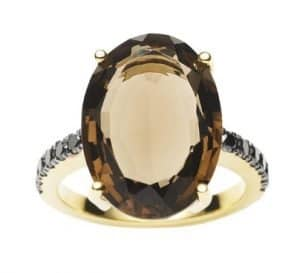 18CT SMOKY QUARTZ & BLACK DIAMOND BIANCA RING