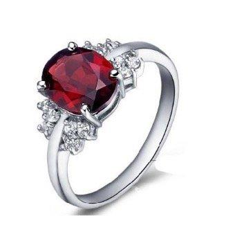 2 Carat Real Garnet Engagement Ring on Silver