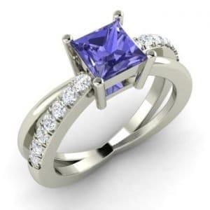 Princess-Cut Tanzanite and I Diamond Sidestone Engagement Ring in 14k White Gold