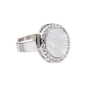 Ring-mother-of-pearl-shell-bleached--glass-rhinestone--imitation-rhodi