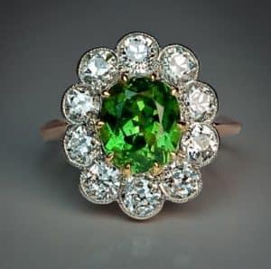 demantoid garnet and diamond cluster ring
