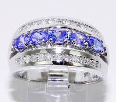 white gold diamond oval tanzanite wedding anniversary ring band