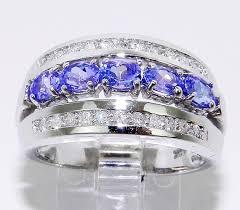white gold diamond oval tanzanite wedding anniversary ring band