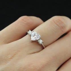 1.25 carat Heart Cut, Round 3 Stone Engagement Ring, Man Made Diamond, Promise