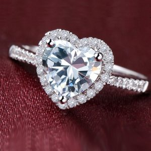 1.8 ct heart cut holo style engagement ring