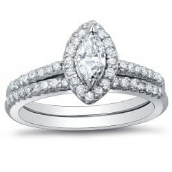 1.98 Ct. Marquise Cut Diamond Engagement Ring w: Matching Band