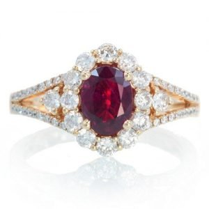 18K Ruby Engagement Ring set in rose gold