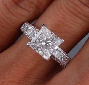 2 16 Carats Ct TW Princess Cut Diamond Engagement Ring G SI2