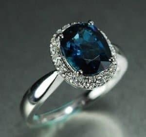 2 Carat Blue Tourmaline Engagement Ring With Diamonds, 14k White Gold