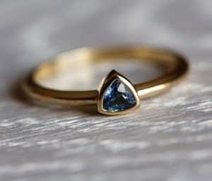 Sapphire Engagement Ring Trillion Sapphire Ring