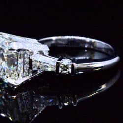 asscher cut with baguette and round cut diamond engagement ring