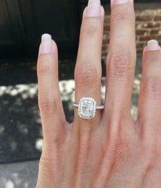 engagement ring radiant cut pave setting platinum