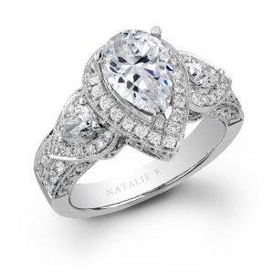 nataliek 14k white gold pear shaped diamond engagement ring