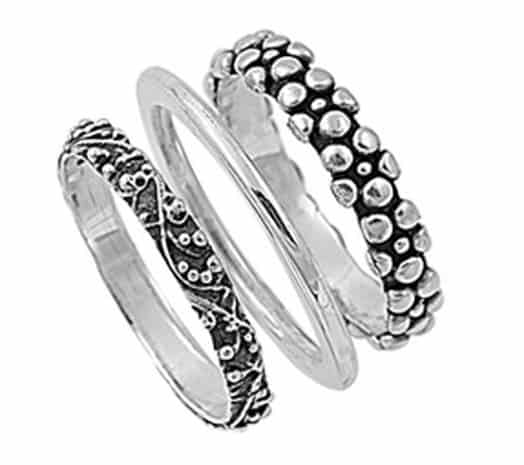 sterling-silver-womens-bali-plain-nugget-3-ring-set-beautiful-band-sizes