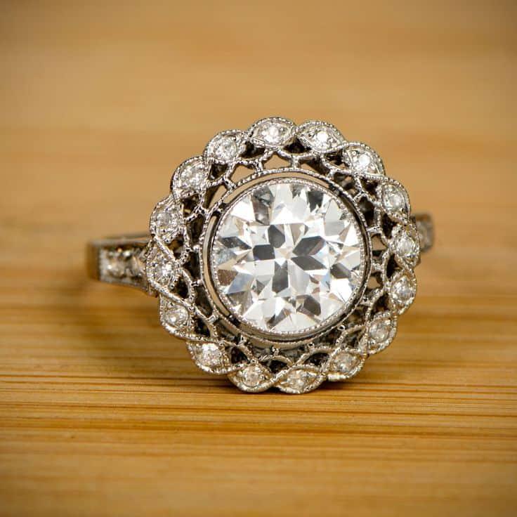 edwardian era vintage style engagement ring openwork