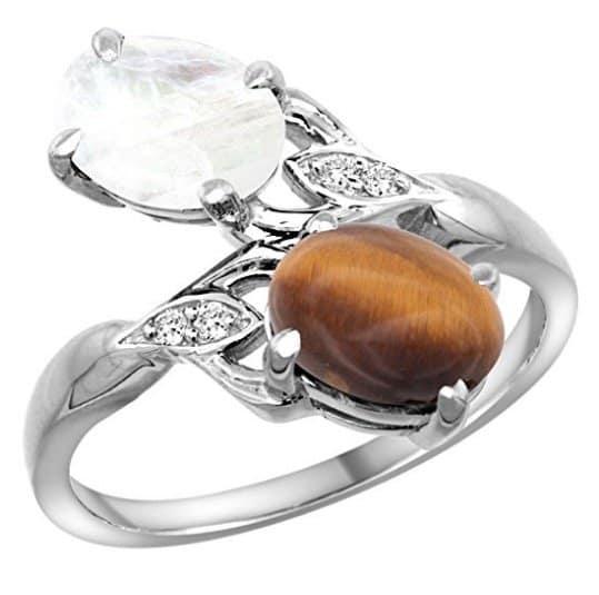 14k-white-gold-diamond-natural-tiger-eye-rainbow-moonstone-2-stone-ring-oval-8x6mm