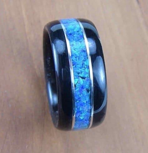 bentwood-mens-ring-ebony-with-blue-opal-inlay-with-sterling-silver-accents