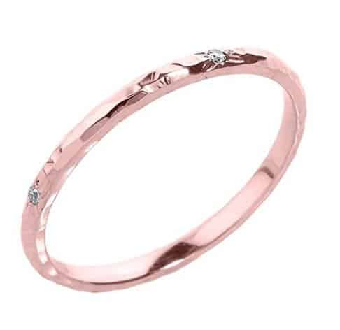 dainty-10k-rose-gold-pink-hammered-band-stackable-diamond-ring