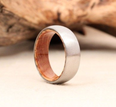 titanium wood ring lined with whiskey barell white - Wood Wedding Ring