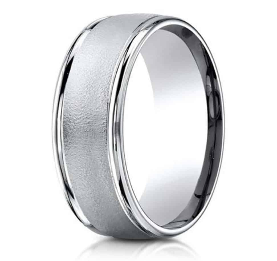 benchmark-platinum-8mm-comfort-fit-wire-brush-finish-high-polished-round-edge