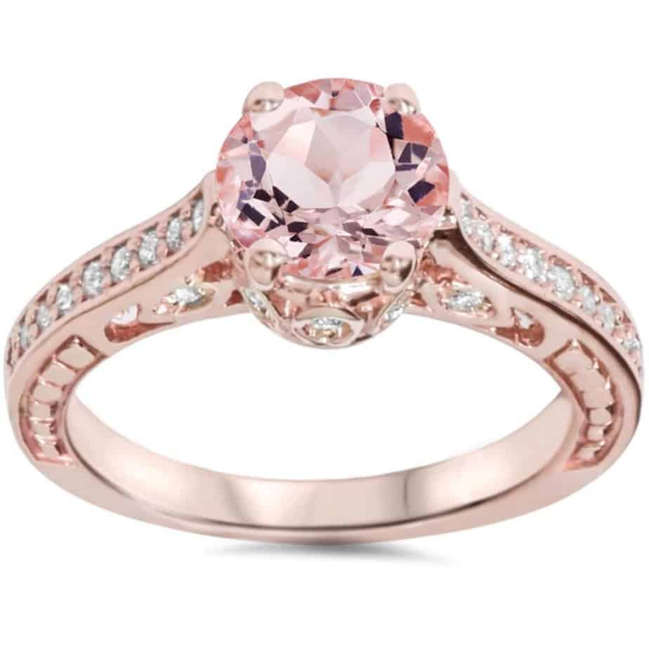 bliss-14k-rose-gold-1-4ct-tdw-diamond-and-morganite-vintage-style-engagement-ring