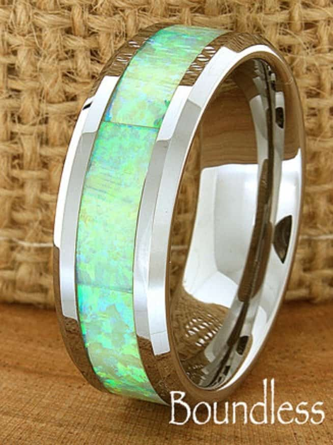 opal-wedding-band-flat-high-polished-beveled-customized-tungsten-band-any-design-laser-engraved-ring-mens-tungsten-ring-modern-new-classic