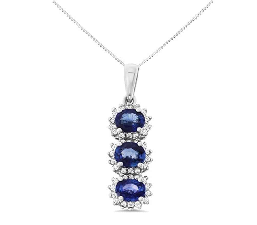 18K White Gold Genuine Natural Blue Sapphire and Diamond Pendant With Square Box Chain Necklace