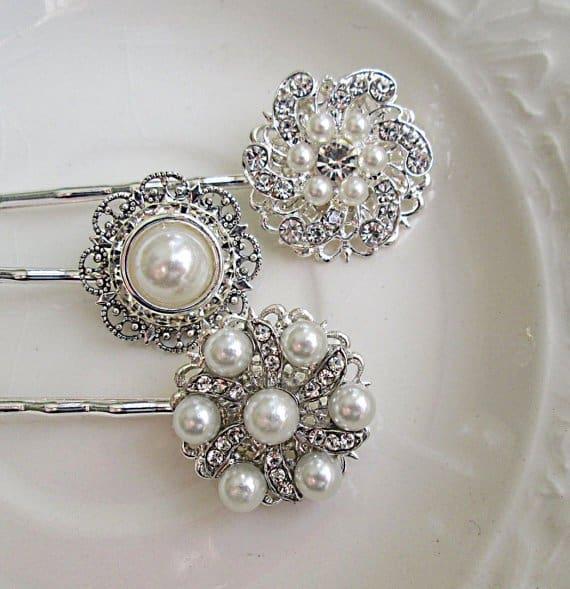 Bridal Hair Pins, Pearl clips