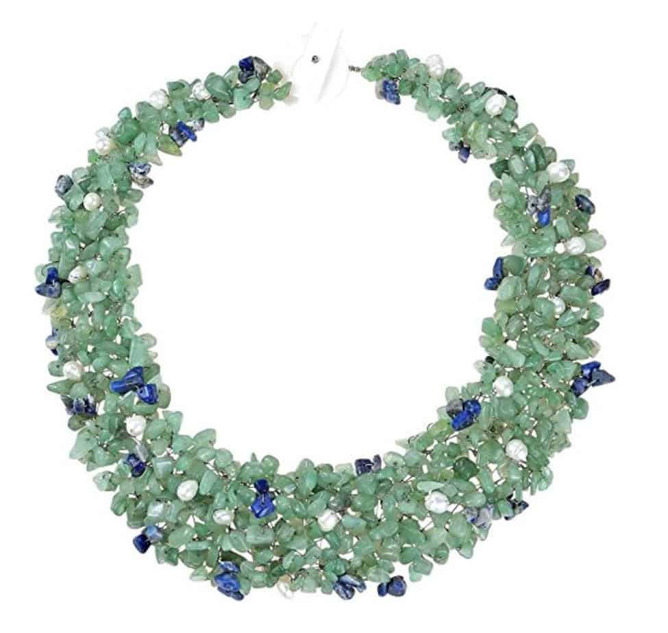 Green-Blue Cascades Quartz-Cultured Freshwater Pearl-Reconstructed Lapis-Lazuli Medley Trio Bib Necklace