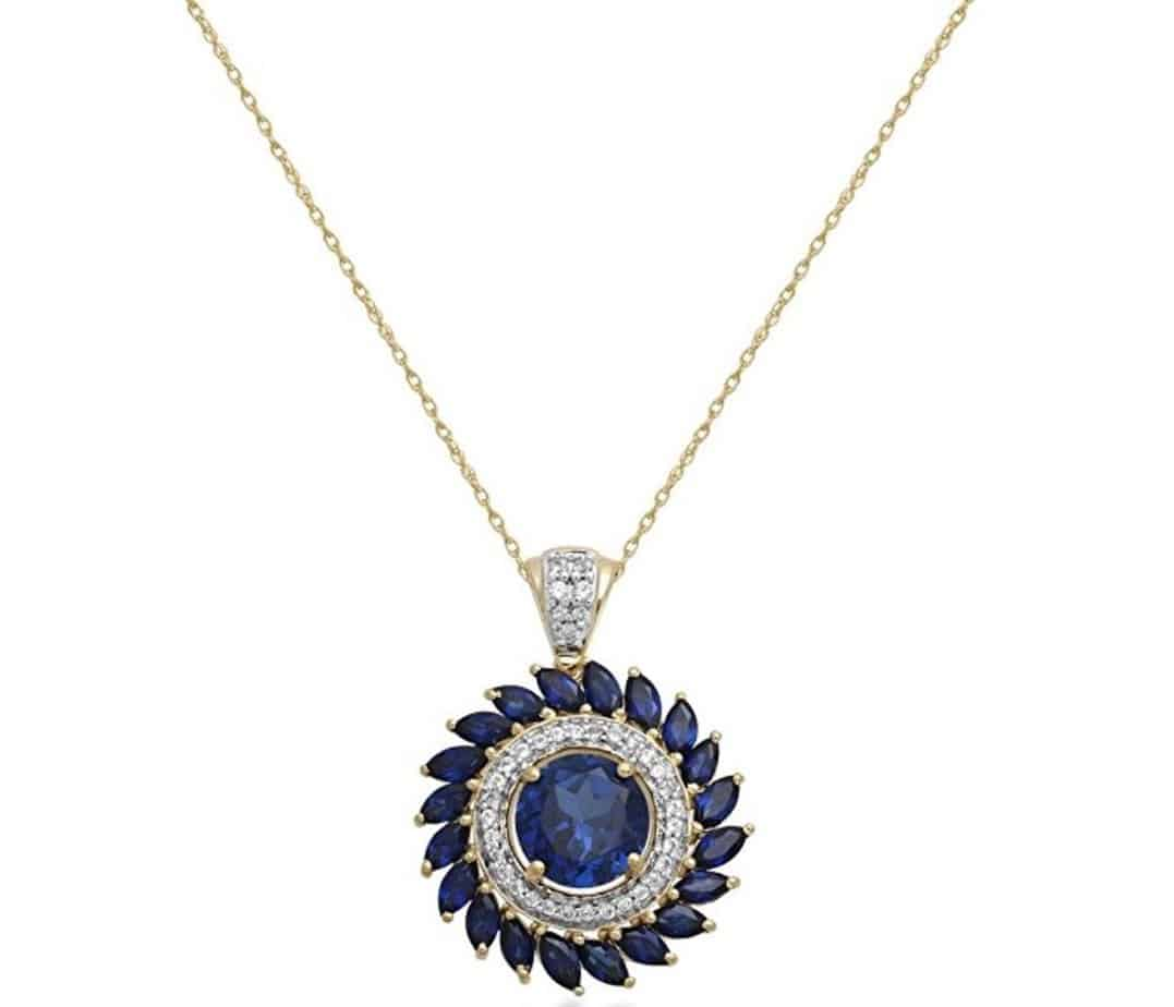 Jewelili 10kt Yellow Gold 8.00MM Created Blue Sapphire Pendant Necklace
