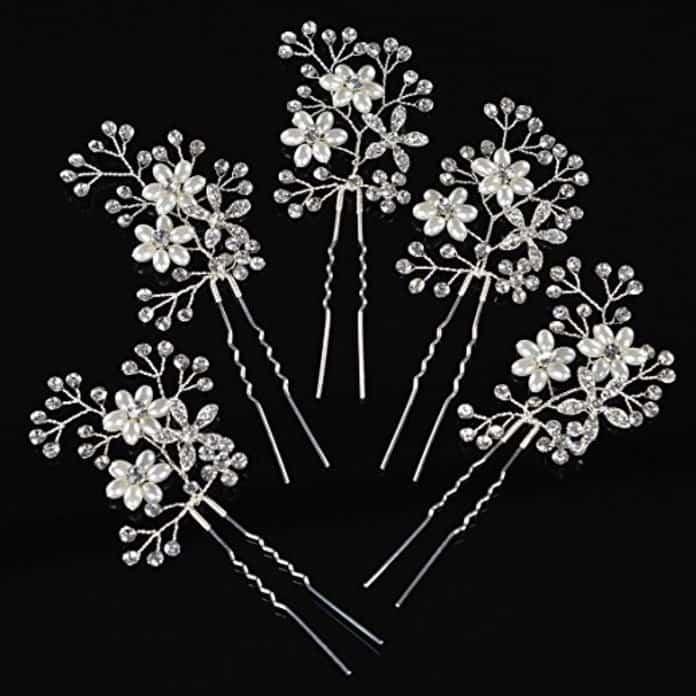Remedios silver 5pcs Vivid Rhinestone Pearl Flower Hair Pin Bridal Wedding Hairpin
