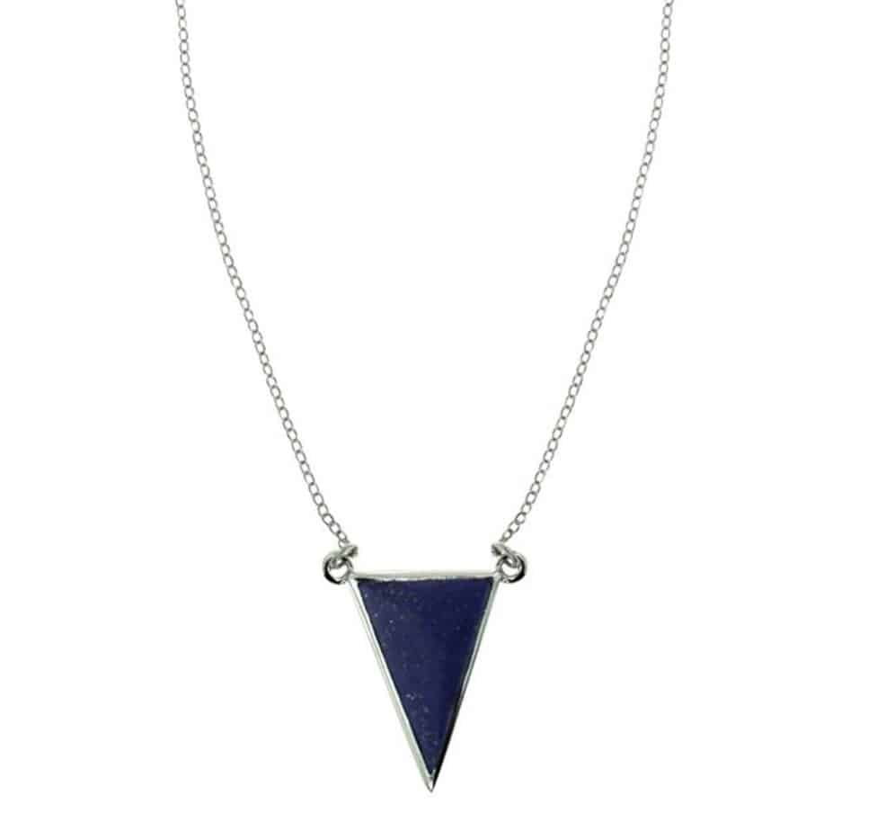 Rhodium Plated 925 Sterling Silver Blue Lapis Triangle Pendant Necklace, 18 Inch