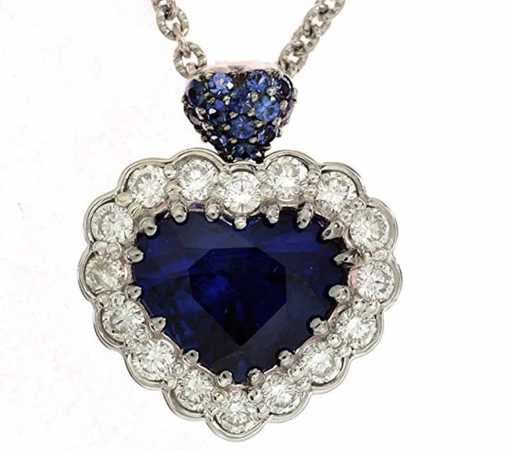 Sapphire and Diamond Necklace With a GIA Certified 5.05ct Heart Shape Blue Sapphire