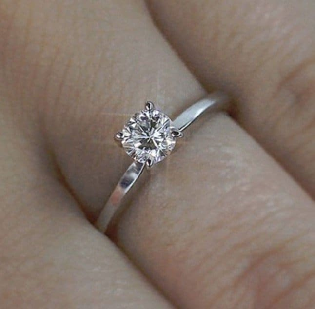 Solitaire Round Brilliant Cut Diamond Engagement Ring 0.60 Carat F:VS2 14k White Gold