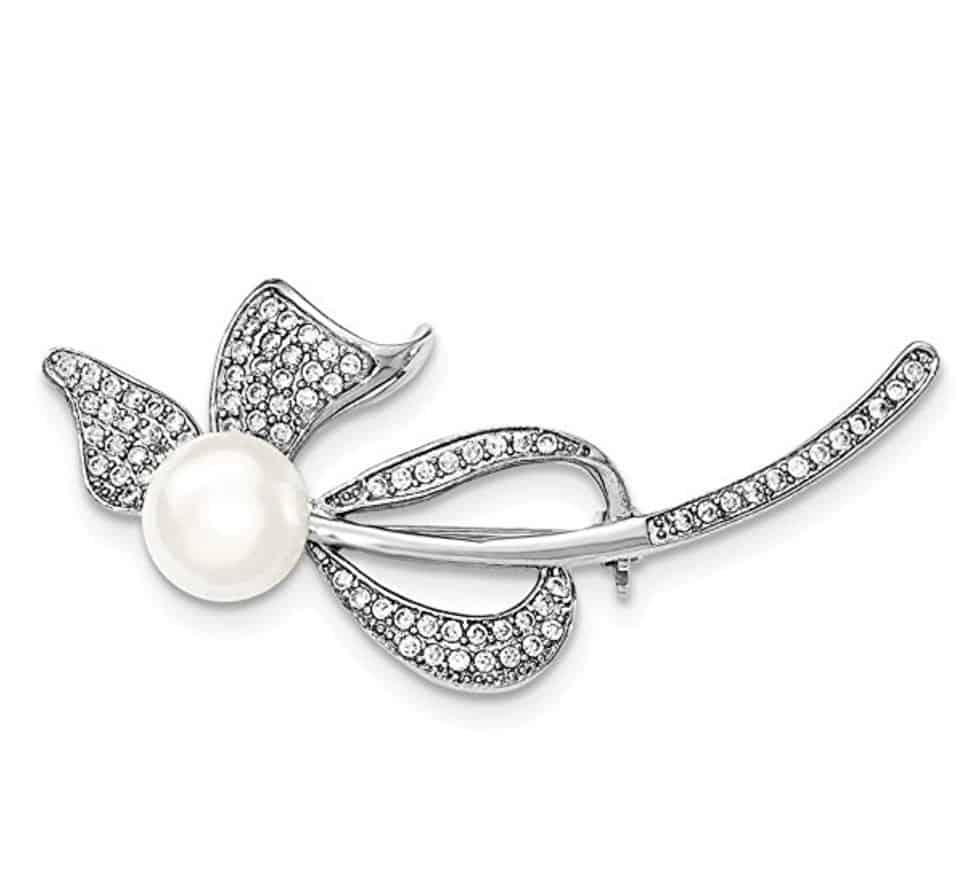 Sterling Silver 9-10mm White Freshwater Cultured Pearl Synthetic CZ Bow Pin
