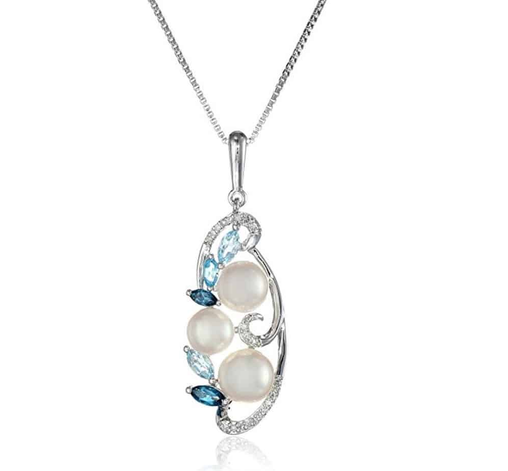 Sterling Silver Cluster Freshwater Cultured Pearl and Mixed Blue Topaz Diamond Drop Pendant Necklace