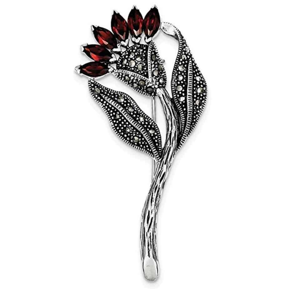 Sterling Silver Marcasite and Red CZ Flower Pin