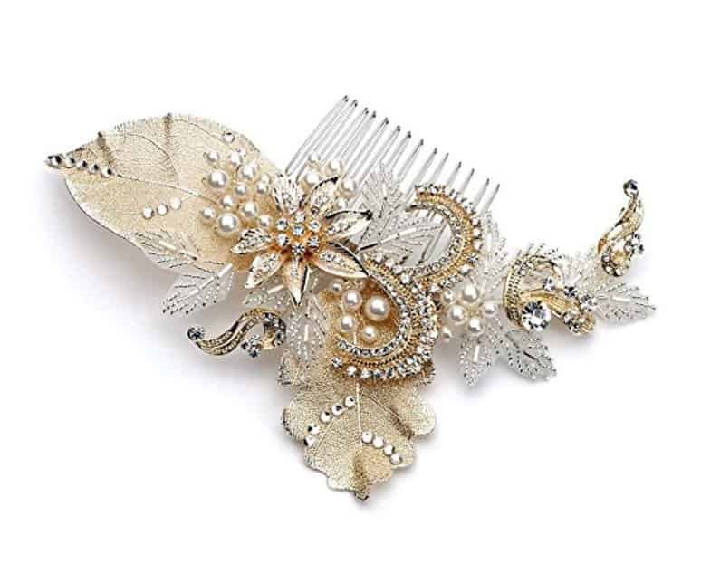 USABride Gold-Plated Leaf and Simulated Pearl Hair Accessory, Bridal Hair Comb 2220-G