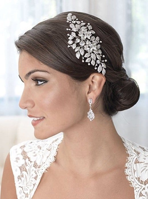 Vintage Rhinestone Floral Wedding Hair Comb Back comb, Bridal Headpiece