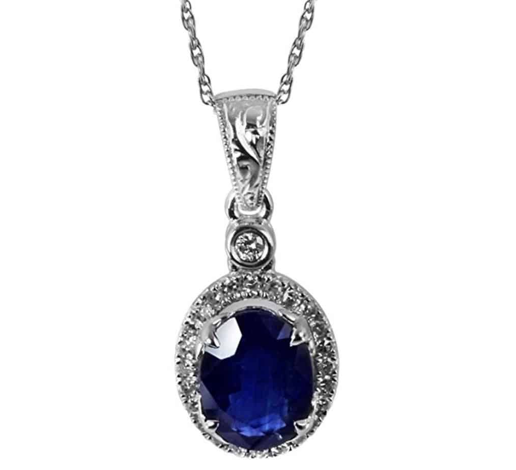 White Gold Genuine 1.45 ct Sapphire and .15 cttw Diamond Pendant