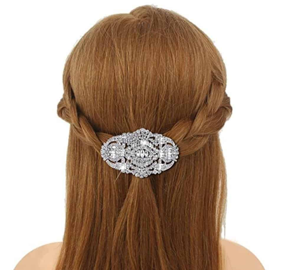 1920's Style Bride Hair Barrette Art Deco Clear Austrian Crystal Silver-Tone