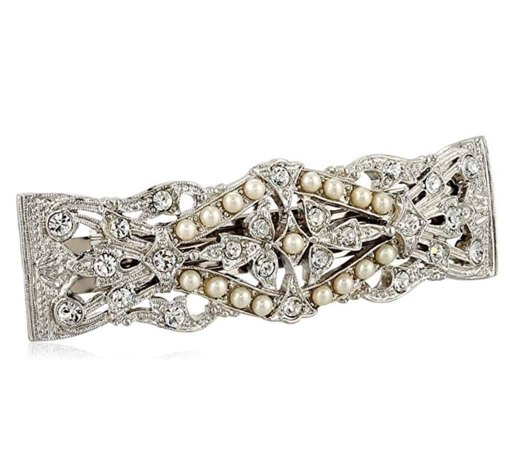 1928 Bridal Silver Tone Crystal Simulated Freshwater Pearl Barrette
