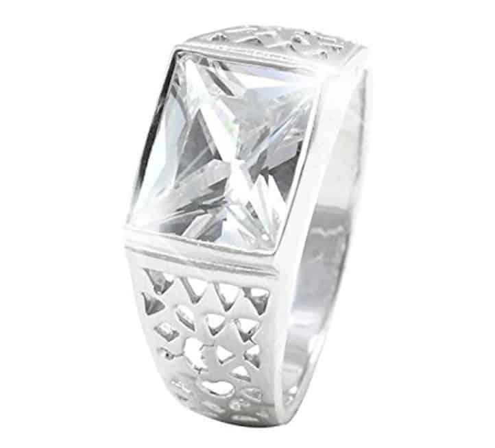 Accent Filigree Design Men Ring Radiant Cut 925 Sterling Silver Choose Color