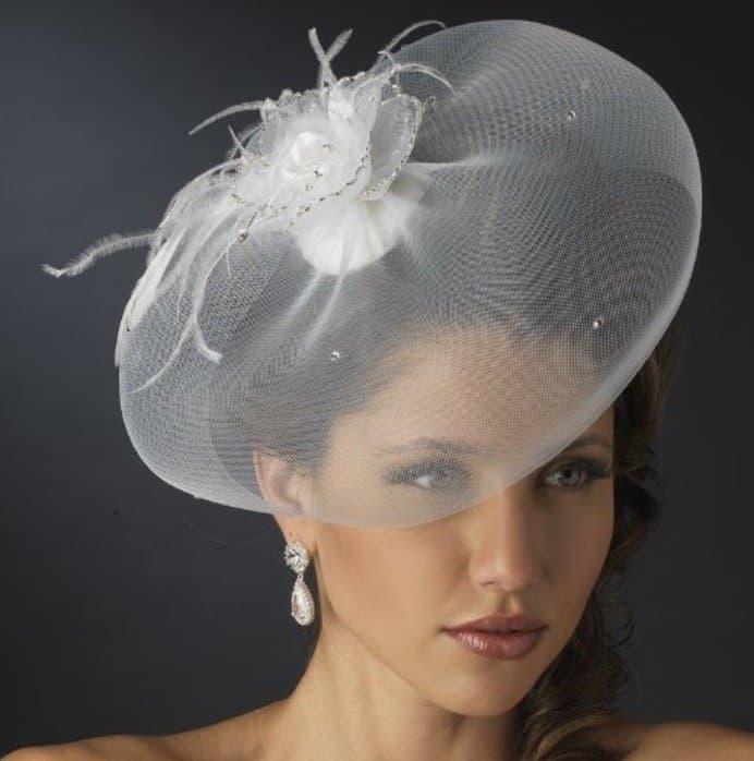 Chic Visor Bridal Cocktail Hat Comb & Wedding Veil Fascinator