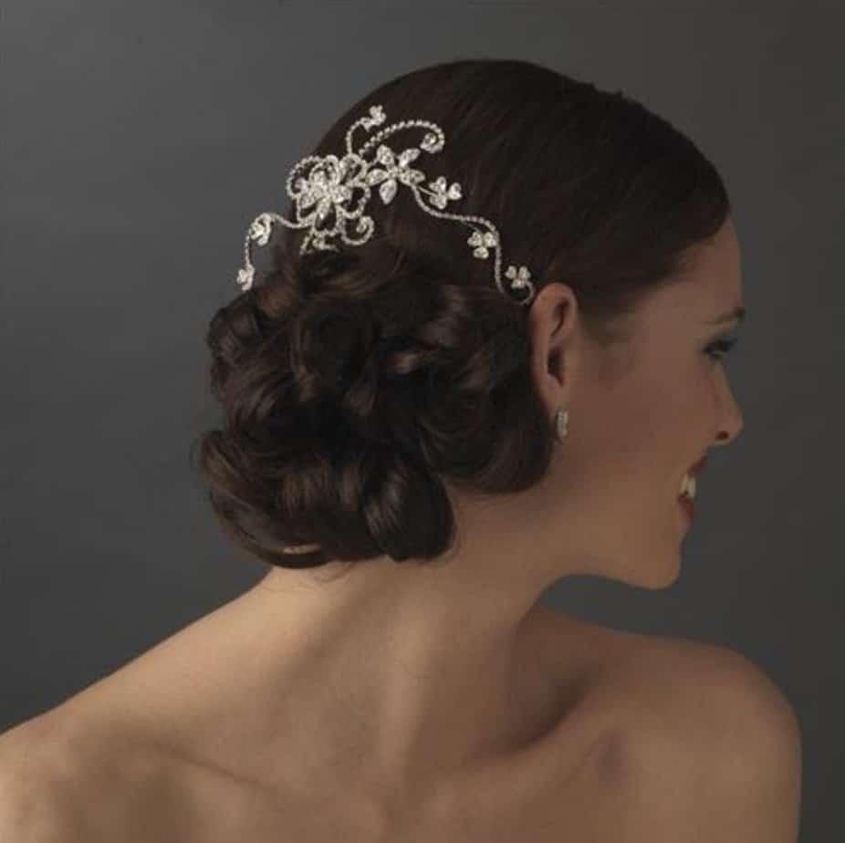 Crystal Couture Bridal Comb Floral Vine Design