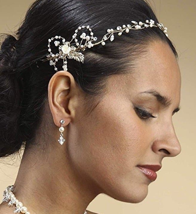 Gold & Pearl Art Nouveau Bridal Hair Vine