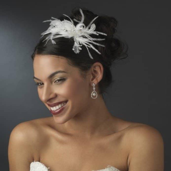 Irina White Swarovski Crystal Wedding Bridal Feather Fascinator Headband