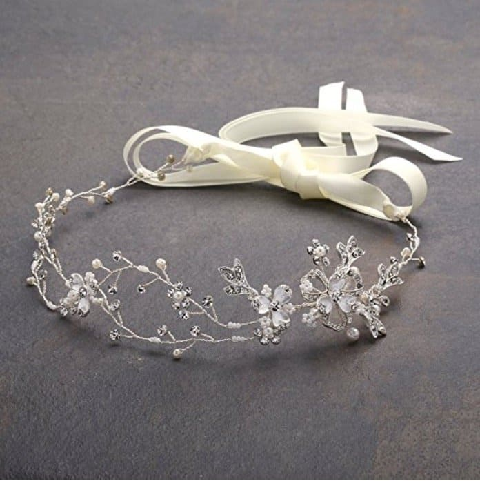 Mariell Freshwater Pearl and Crystal Wedding Headband Hair Vine with Ribbons
