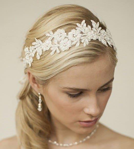 Mariell Handmade Designer Bridal Headband - Ivory Beaded Lace Applique Headpiece