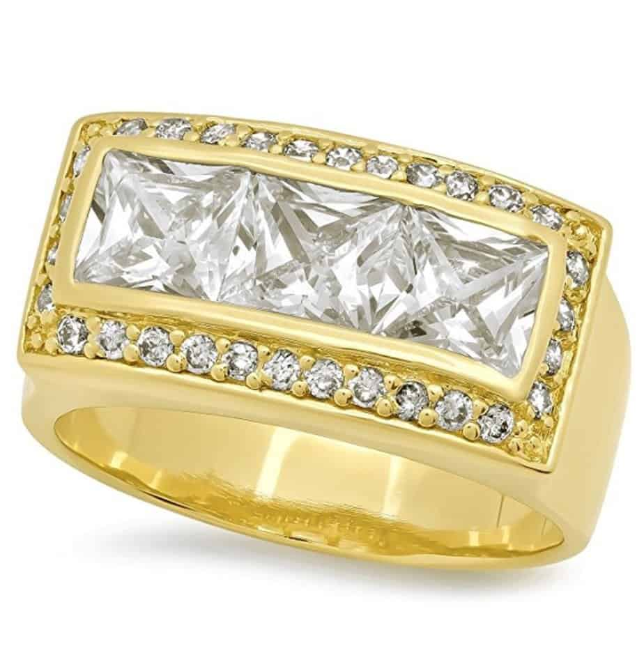 Mens 22mm Wide Cubic Zirconia 14k Yellow Gold Plated Ring with Mini-CZ Accents